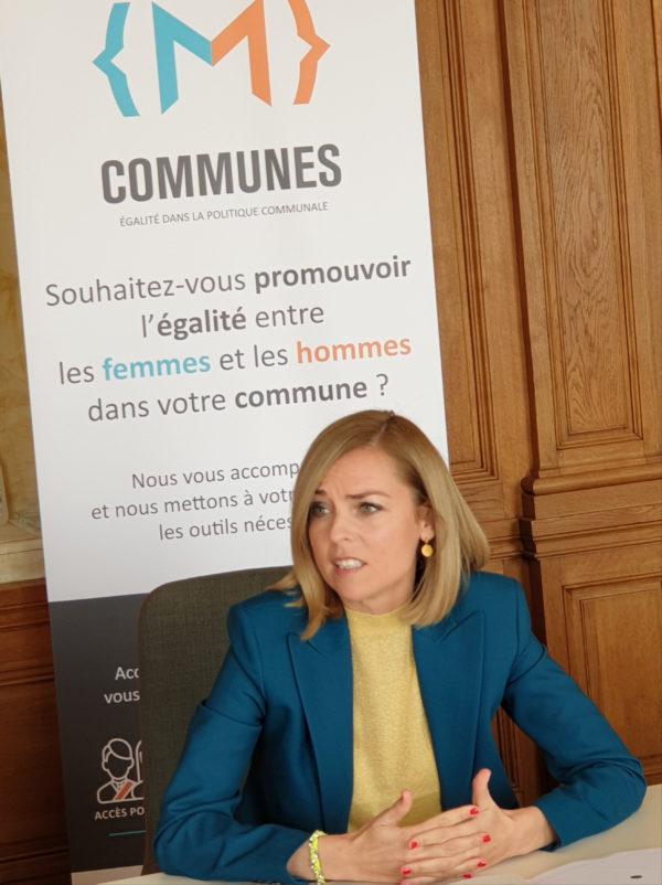 Mme la ministre lors de son allocution lors de la présentation de la stratégie du MEGA pour les communes.